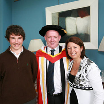 Dr. Declan Kidney with his wife Anne and son Cian