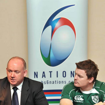 Declan Kidney and Brian O'Driscoll at the tournament launch