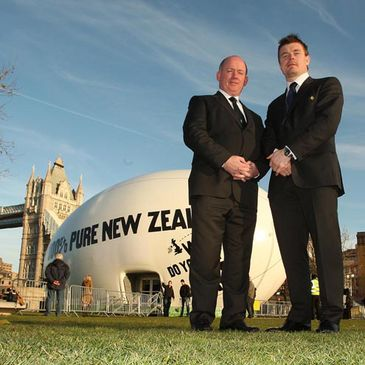 Declan Kidney and Brian O'Driscoll are pictured before the draw ceremony