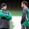 Ireland head coach Declan Kidney checks in with Fergus McFadden, who will start at outside centre following Keith Earls' withdrawal from the team