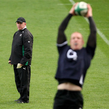 Declan Kidney and Paul O'Connell at the Captain's Run