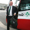 Head coach Declan Kidney was in upbeat mood as the management, players and team officials came off the bus at Dublin Airport