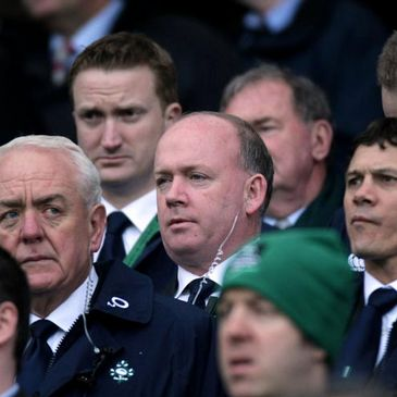 Declan Kidney with the management team in the Hogan Stand