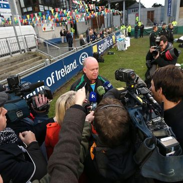 Declan Kidney spoke to reporters at Donnybrook