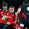 Donncha O'Callaghan is up in support as replacement hooker Denis Fogarty tries to crash through the Scarlets' defence