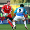 Denis Hurley, who featured on the left wing for Munster, takes on Toulon's Australian flanker George Smith