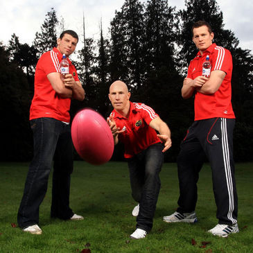 Munster's Denis Leamy, Peter Stringer and Denis Hurley