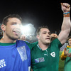Unused replacement Denis Leamy and man-of-the-match Cian Healy salute the Ireland fans who gave great backing to the players during the game