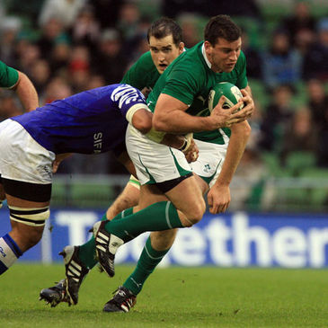 Denis Leamy in action for Ireland