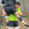 Denis Leamy lifts back row colleague David Wallace off his feet as Munster prepare to face Brive this weekend