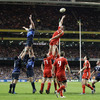Nathan Hines and Denis Leamy compete at a lineout, but the ball evades them both