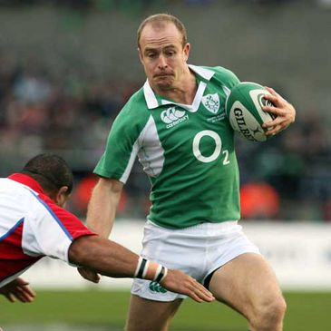 Denis Hickie in action for Ireland