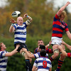 Former Blackrock College captain Des Dillon gets the better of Clontarf's Jamie Chipman in a lineout at Stradbrook