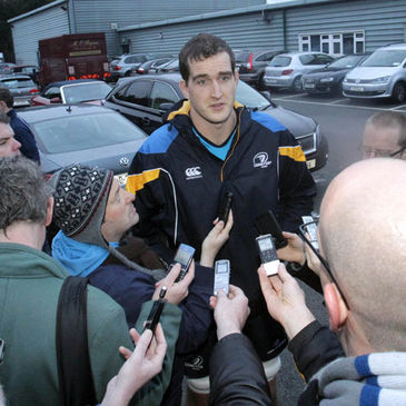 Leinster lock Devin Toner takes part in a press briefing