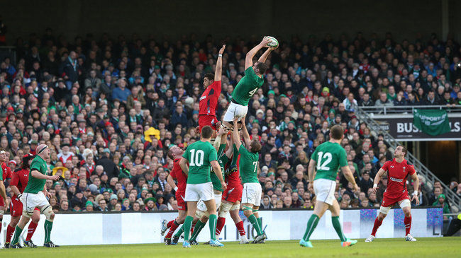 Devin Toner wins a lineout for Ireland