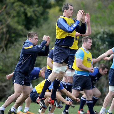 Devin Toner is pictured warming up with his Leinster team-mates
