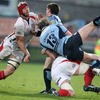 Ulster back rowers Stephen Ferris and Robbie Diack forage for possession during the province's Magners League defeat to Cardiff Blues