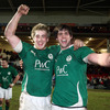 Forward duo Dominic Ryan and David O'Callaghan celebrate after a famous victory for the Ireland Under-20s at Kingsholm