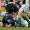 Ireland's Dominic Ryan, who started at blindside flanker, forces Scotland hooker Alun Walker to cough up possession