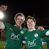 Leinster pair Dominic Ryan and John Cooney show their delight after the Irish Under-20s got back to winning ways