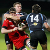 Munster lock Donnacha Ryan gets caught around the face by Glasgow's Canadian winger DTH van der Merwe