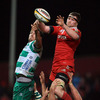 Munster lock Donnacha Ryan gathers a lineout ball ahead of Benetton Treviso's Enrico Pavanello