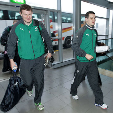 Ireland's Donnacha Ryan and Jonathan Sexton