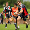 Versatile forward Donnacha Ryan is chased by All Black Sam Tuitupou during Tuesday's session in Limerick