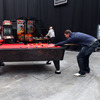 Donnacha Ryan, who is on the bench for Saturday's game against Australia, is pictured playing pool at the PUMA Social Club