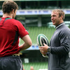 Donnacha Ryan and Stephen Ferris chat together before the session. Ferris, back from a long-term knee injury, will be on the replacements bench for the opening match of the GUINNESS Summer Series