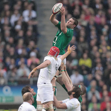 Lock Donnacha Ryan wins a lineout for Ireland
