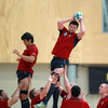 Donnacha Ryan beats his provincial colleague Donncha O'Callaghan to a lineout ball during today's indoor training session in Wellington