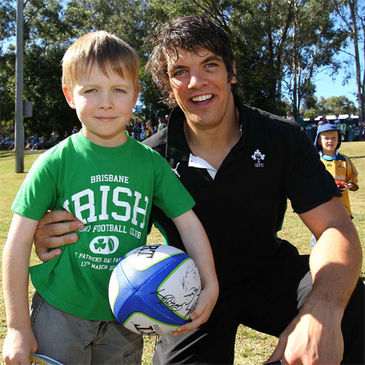 Donncha O'Callaghan is pictured with young Ireland fan Conor