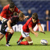 Experienced lock Donncha O'Callaghan dives on a loose ball as Munster look to maintain their second half lead against the Scots