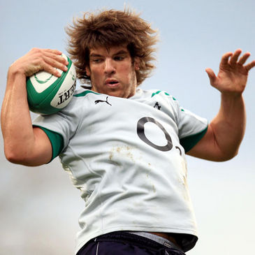 Ireland lock Donncha O'Callaghan gathers a lineout ball