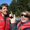 Jerry Flannery, the squad's resident hair expert, has a laugh with Donncha O'Callaghan who got a blow dry courtesy of the jet boat ride