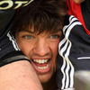 A close-up view of Donncha O'Callaghan as the Munster forwards work on their scrummaging