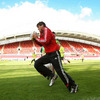 Donncha O'Callaghan is pictured warming up at Thomond Park, the venue for Saturday's Magners League decider