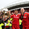 Munster's long-serving second row partnership of Donncha O'Callaghan and Paul O'Connell celebrate with the province's fans