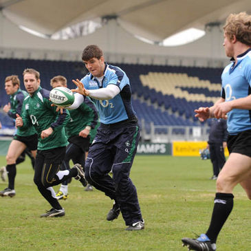 Donncha O'Callaghan takes a pass at the RDS