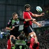 Donncha O'Callaghan wins lineout possession for Munster, ahead of Montauban's Yannick Caballero
