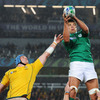 Australian skipper James Horwill is beaten to a lineout ball by Donncha O'Callaghan, who now has 77 Ireland caps to his name