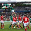 Winning his 80th cap for Ireland, Donncha O'Callaghan is shown securing lineout ball for the men in green in Wellington