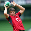 Donncha O'Callaghan is pictured in lineout action during the Captain's Run training session at the Aviva Stadium