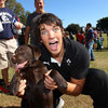Donncha O'Callaghan raised plenty of laughs on the day. Here he is pictured getting acquainted with a furry friend