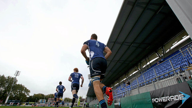 The Leinster 'A' players run out at Donnybrook