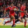 Doug Howlett, Munster's sole try scorer and man-of-the-match, charges through the Ospreys defence