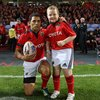 Danny McCarthy, Munster's mascot for the Thomond Park tie, is pictured beforehand with the province's newly-appointed captain Doug Howlett