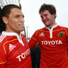 Donnacha Ryan and Doug Howlett, two of Munster's best performers on the night, soak up the post-match atmosphere