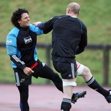 Doug Howlett and Paul O'Connell share a joke at training